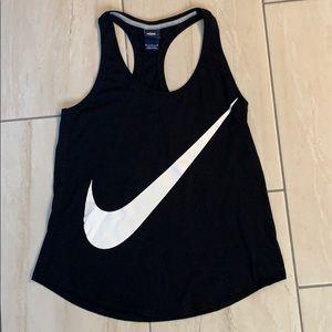 Nike black racer back swoosh tank top size medium